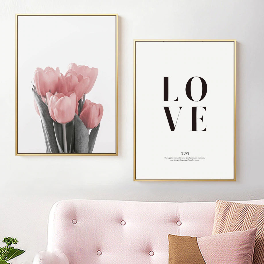 Stylish Simple Love Pink Tulip Wall Art Minimalist Love Quotation Nordic Style Fine Art Canvas Prints Pictures For Modern Home Interior Design