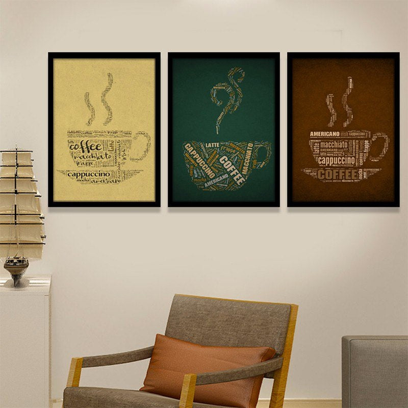Superb Vintage Coffee Cup Canvas Wall Art Posters Giclee Prints Pictures for Bar Office Cafe Coffee Room or Kitchen