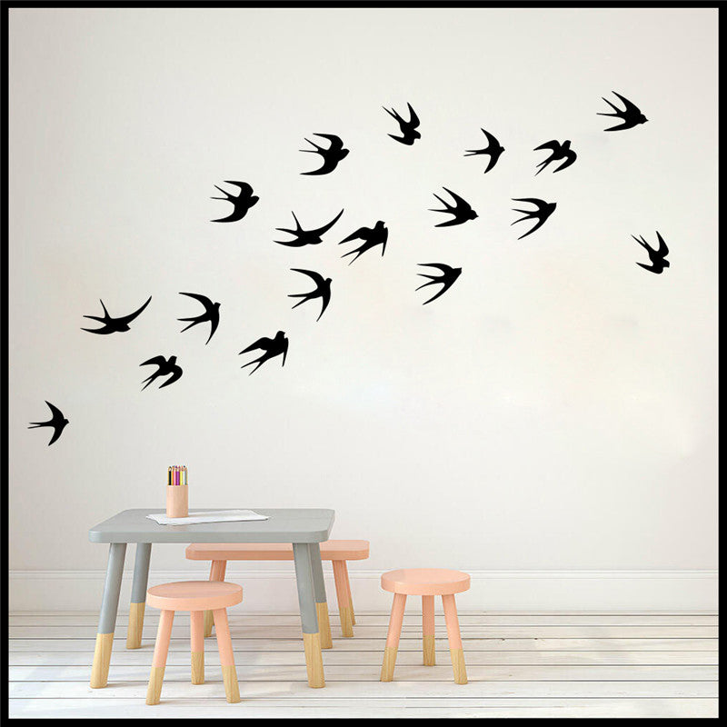 Swallows And Swifts Birds Wall Decals Removable PVC Bird Stickers For Windows Or Wall Flock Of Birds Mural For Living Room Dining Room Kitchen Home Decor Set of 18x8cm