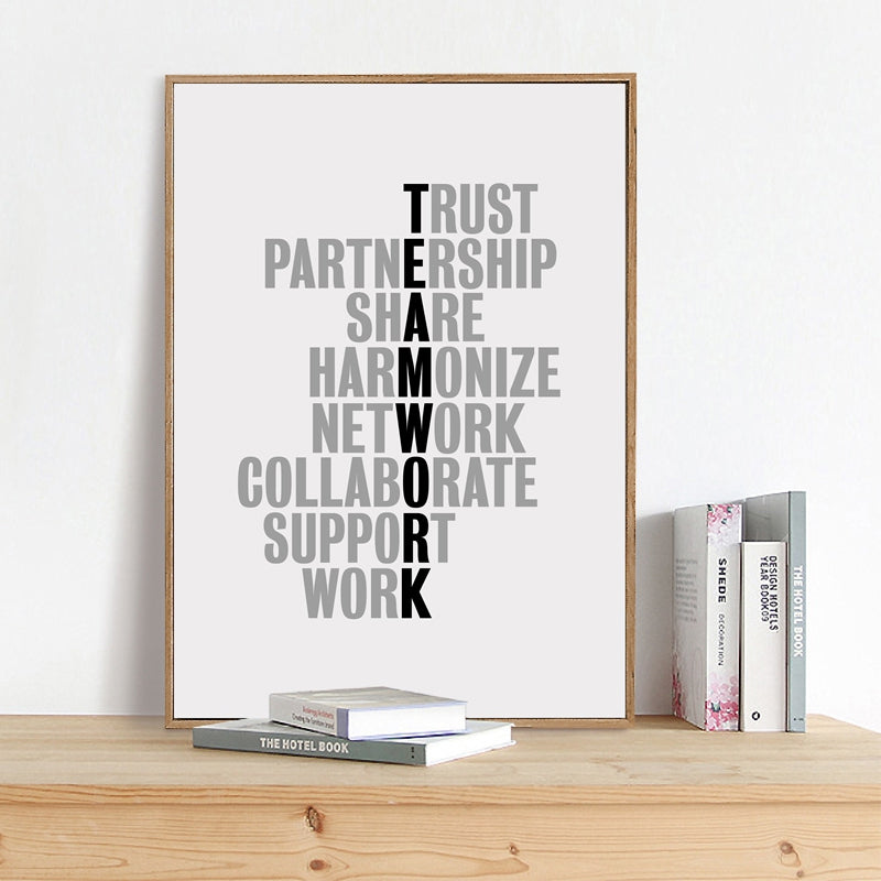 Teamwork Quotes Posters Motivational Wall Art Black And White Fine Art Canvas Prints Inspirational Business Quotations For Modern Office Wall Art Decor