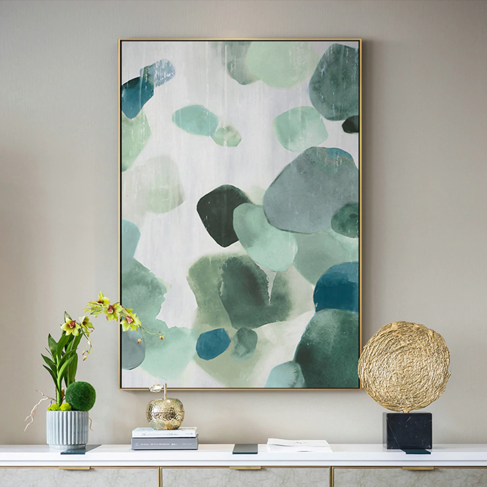Textural Shades Of Green Abstract Wall Art Fine Art Canvas Prints Nordic Style Modern Pictures For Living Room Bedroom And Contemporary Office Interiors