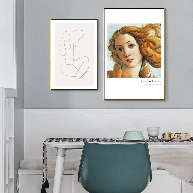 The Birth of Venus Poster Wall Art Vintage Retro Abstract Fine Art Canvas Prints Nordic Style Pictures For Modern Home Interior Design Decoration