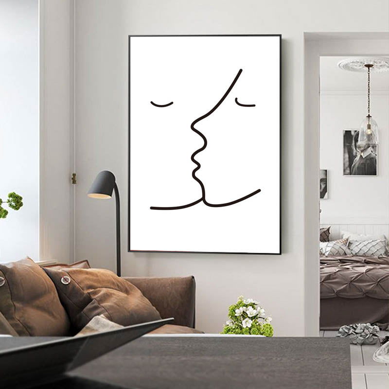 The Kiss Wall Art Simple Line Drawing Black & White Sketch Fine Art Canvas Prints Minimalist Style Nordic Pictures For Bedroom Home Decor
