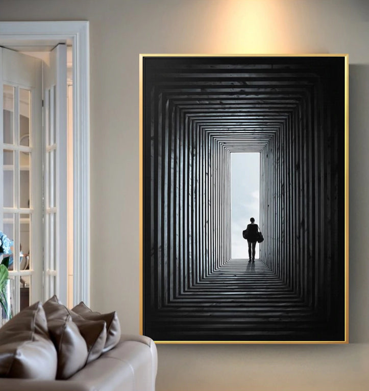 The Light At The End Of The Tunnel Wall Art Fine Art Canvas Print Modern Abstract Black And White Posters Nordic Style Home Interior Decoration