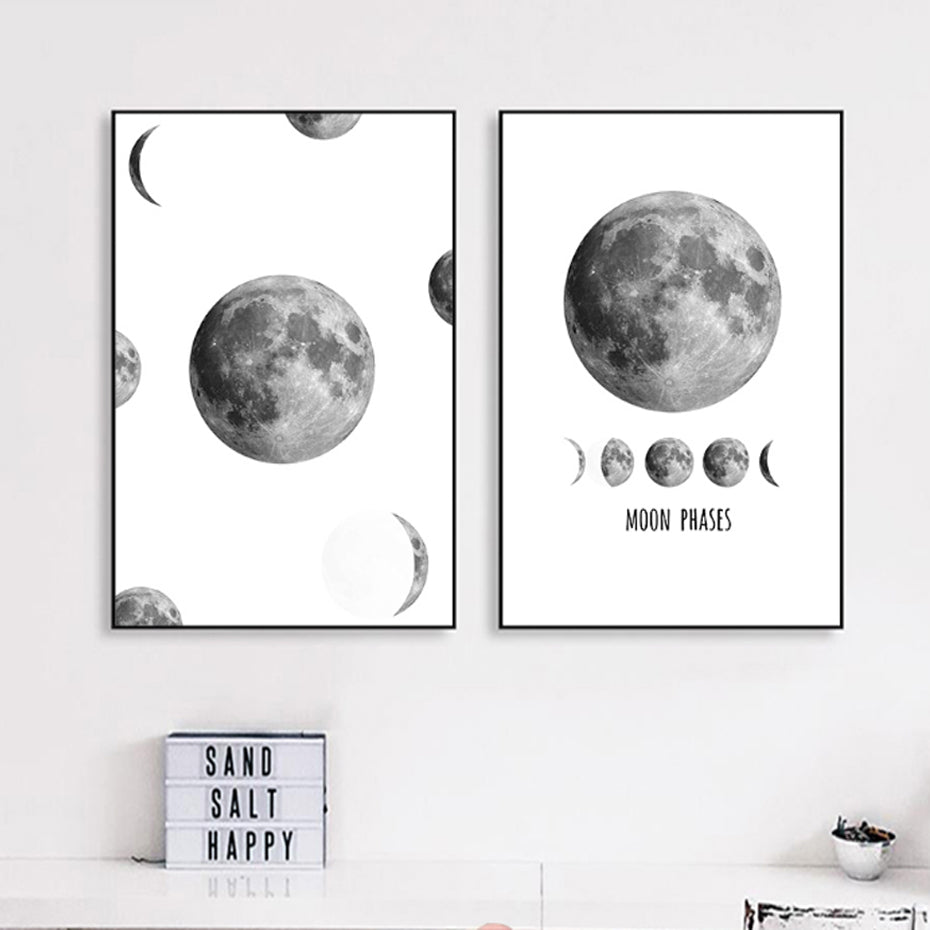 The Moon Phases Abstract Black and White Moon Poster Nordic Canvas Photographic Print Wall Art Pictures For Living Room Home Decor