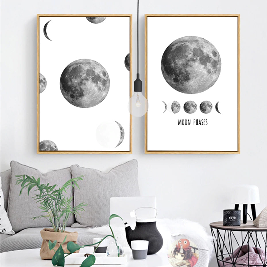 The Moon Phases Abstract Black Amp White Moon Poster Nordic
