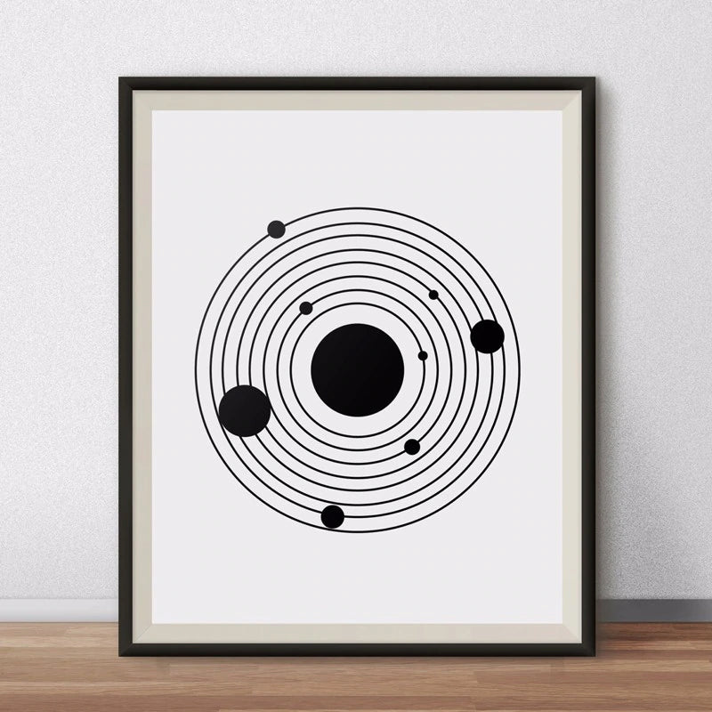 The Planets Canvas Wall Art Modern Abstract Solar System Space Painting Minimalist Black and White Astronomy Poster For Home Decor