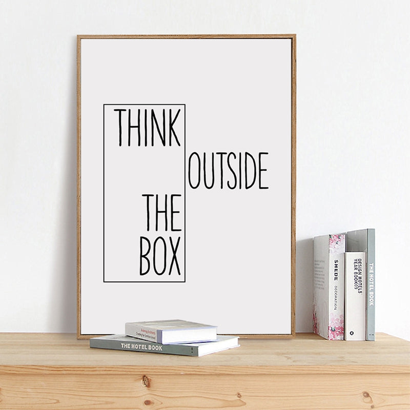 Think Outside The Box Creative Mantra Wall Art Black And White Fine Art Canvas Prints Inspirational Quotations Posters For Office Or Living Room Home Decor