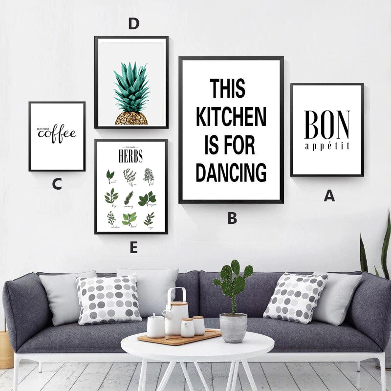 This Kitchen Is For Dancing Quote Bon Appetit Pineapple Wall Art Country Herbs Poster Fine Art Canvas Prints Nordic Style Minimalist Kitchen Posters