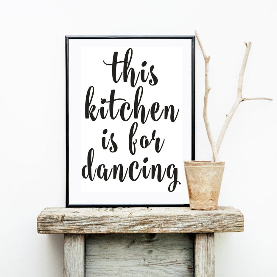 This Kitchen is For Dancing Delightful Minimalist Black and White Canvas Print Wall Art Poster Paintings For Kitchens and Modern Home Decor
