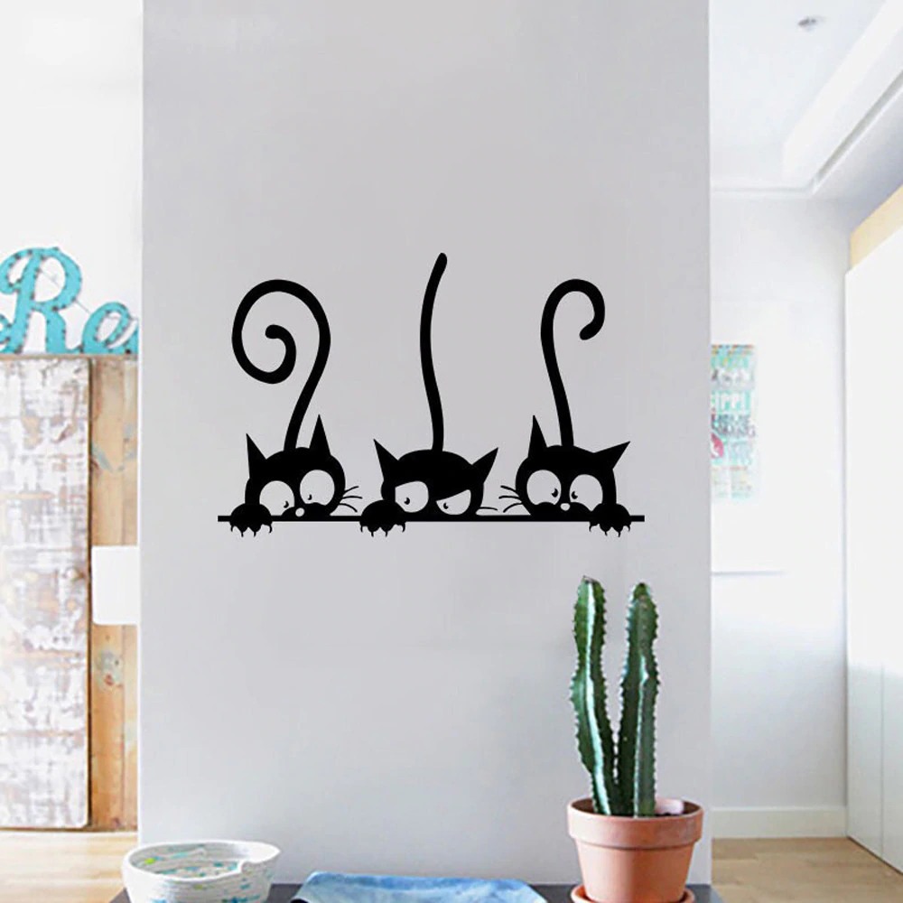 Three Cats Wall Decal Cheeky Playful Felines PVC Removable Wall Sticker For Kitchen Living Room Kid's Playroom Wall Art Decor Size 30x20cm