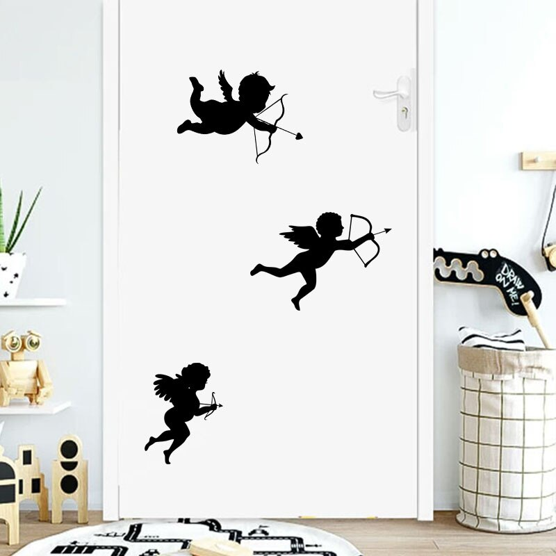Three Cupids Wall Decals Removable Stick-on Peel-off PVC Vinyl Wall Stickers For Living Room Bedroom Romantic Creative Simple DIY Wall Art Decoration