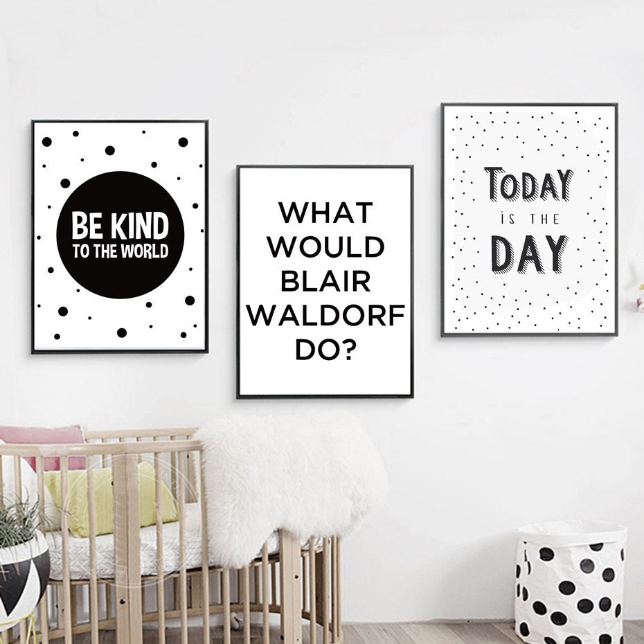 Today Is The Day Be Kind to The World Poster Wall Art Black and White Inspiring Quotes Canvas Paintings Minimalist Modern Home Decor Art