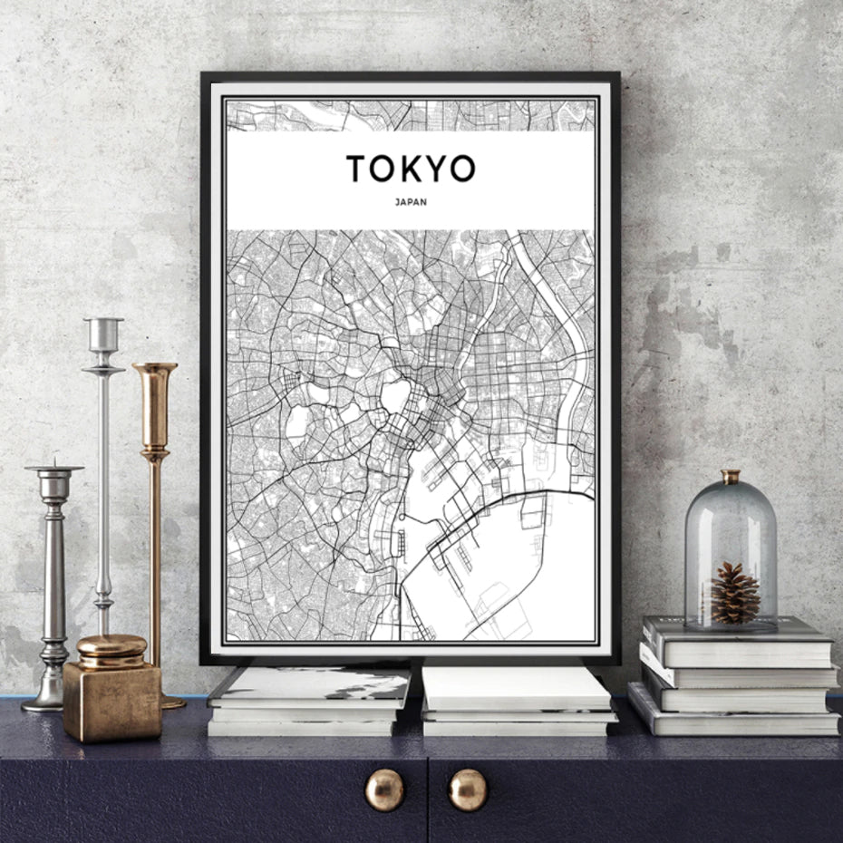 Tokyo Wall Map Modern Asia City Map Art Abstract Minimalist Black White Posters Canvas Prints Pictures for Modern Home Office Decoration
