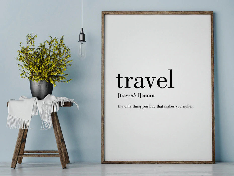 Travel Definition The Only Thing That Makes You Richer Wonderful Word Art Canvas Wall Poster Modern Black And White Quotations Wall Art