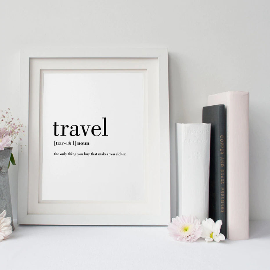 New definition of travel wonderful word art canvas wall poster modern black and white quotations wanderlust wall art for travel fans