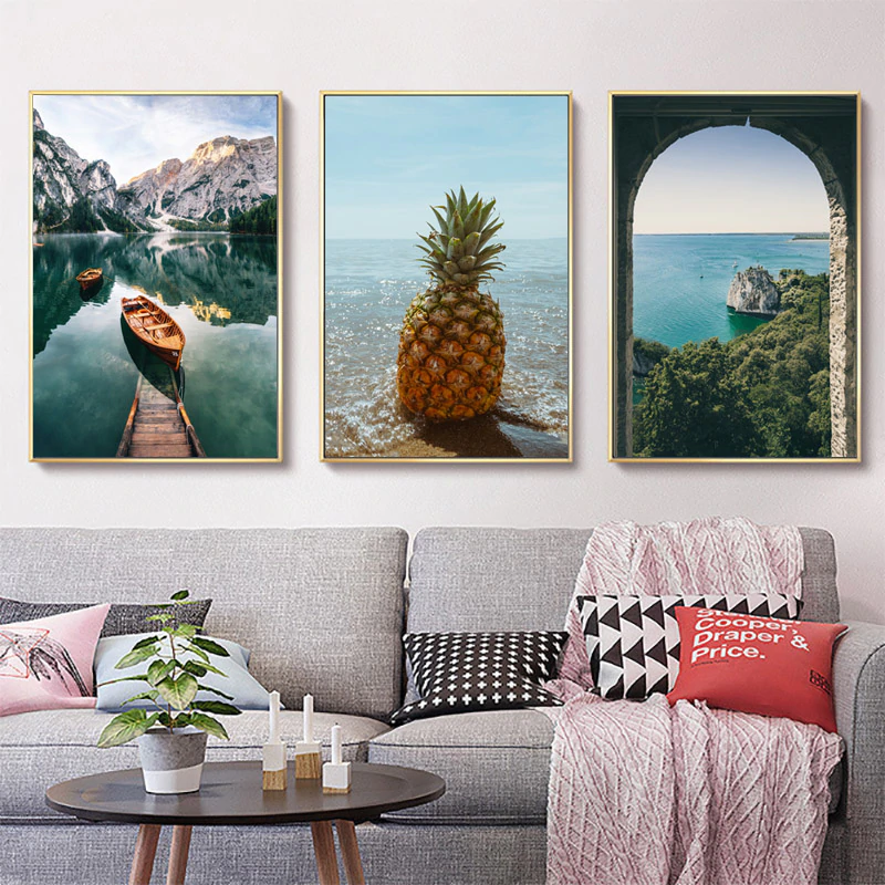 Travel Dreams Landscapes Posters Mountain Lake Pineapple Beach Wall Art Fine Art Canvas Prints For Modern Living Room Wall Art Decor