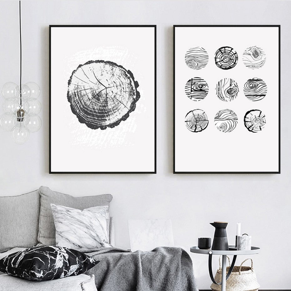 Tree Rings Abstract Wood Patterns Wall Art Eyecatching Nordic Nature Canvas Prints Paintings For Modern Living Dining Room Home Decor