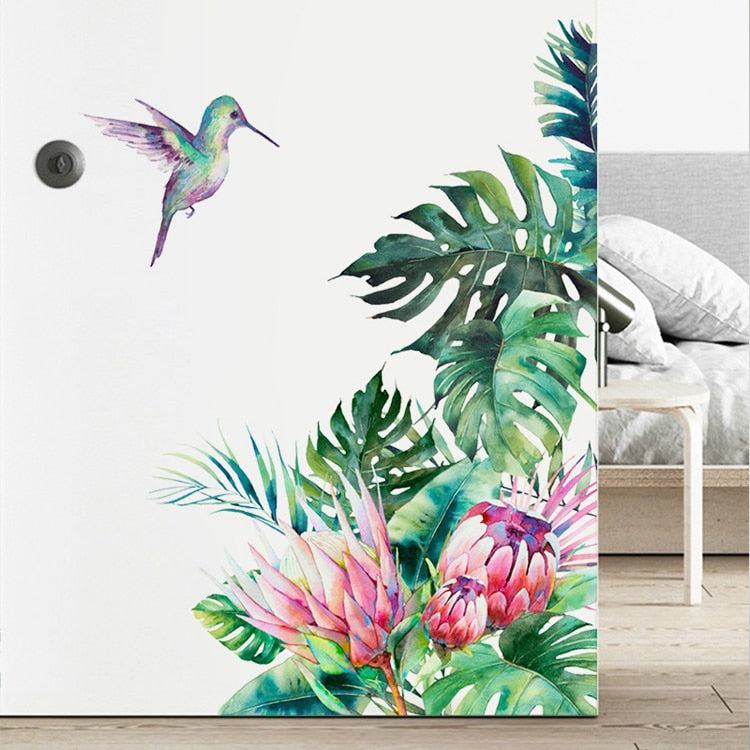 Tropical Botanical Flowers and Hummingbird Wall Art Mural Removable Peel & Stick Vinyl Wall Decal For Living Room Kitchen Wall Creative DIY Decor
