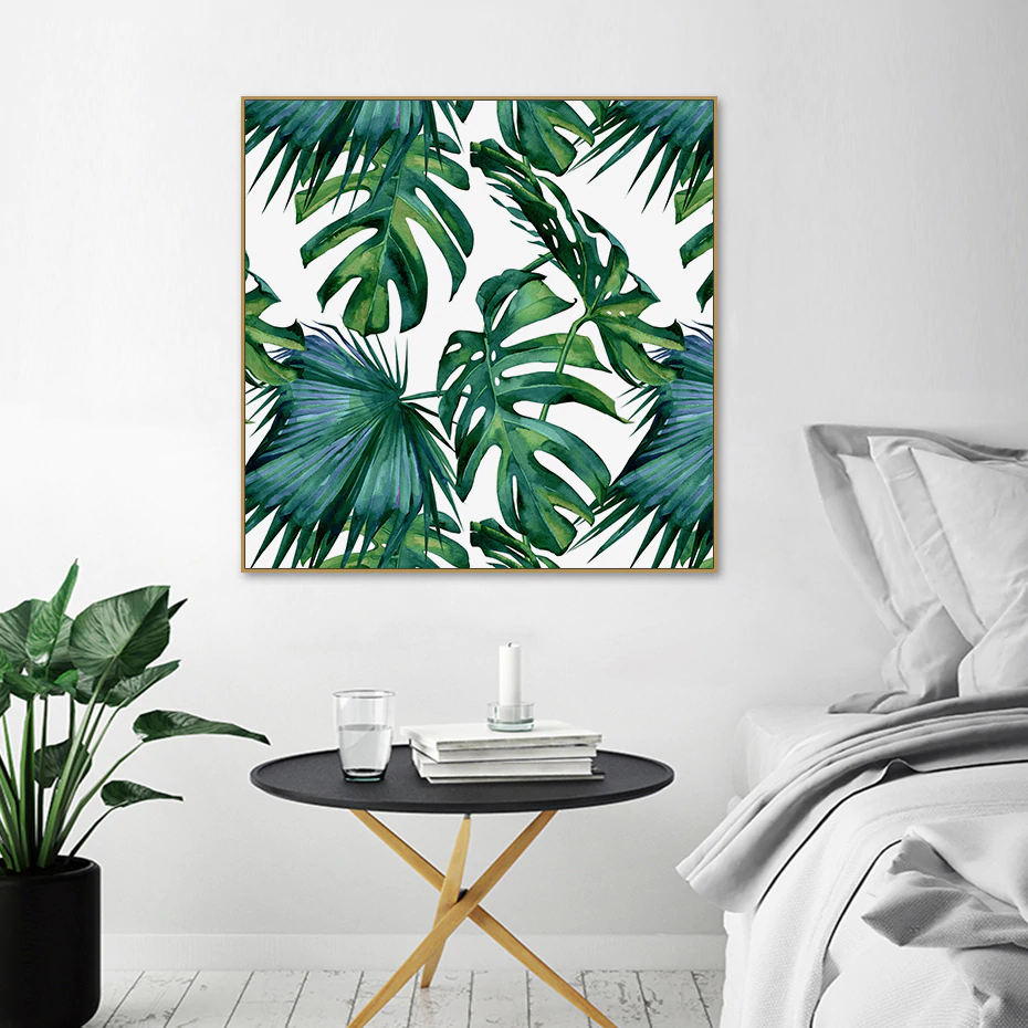 Tropical Botany Monstera Leaf Deliciosa Wall Art Jungle Leaves Fine Art Canvas Giclee Print Square Format Pictures For Living Room Dining Room Modern Wall Decor