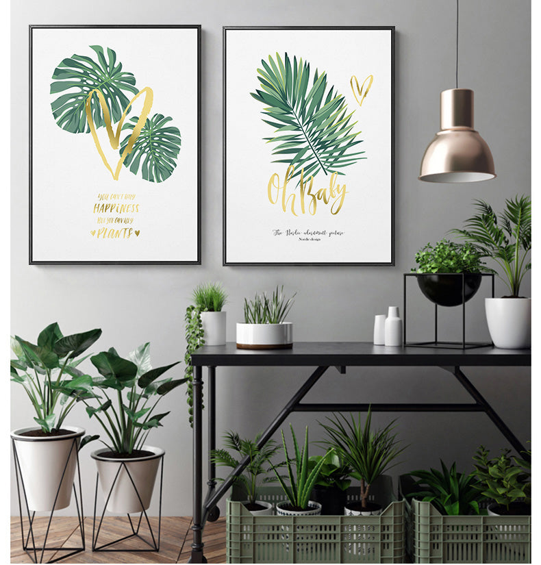 Tropical Green Leaves Nordic Style Wall Art Monstera Palm Leaf With Minimalist Gold Letters Inspiring Quotes Posters For Modern Home Decor