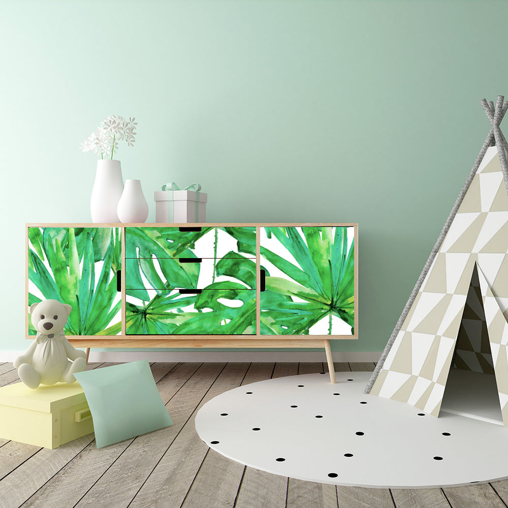 Tropical Green Leaves Wall Mural Self Adhesive PVC Wallpaper Rolls Peel & Stick Covering For Walls Furniture Cabinets Surfaces Creative DIY For Living Room Kids Room Decor