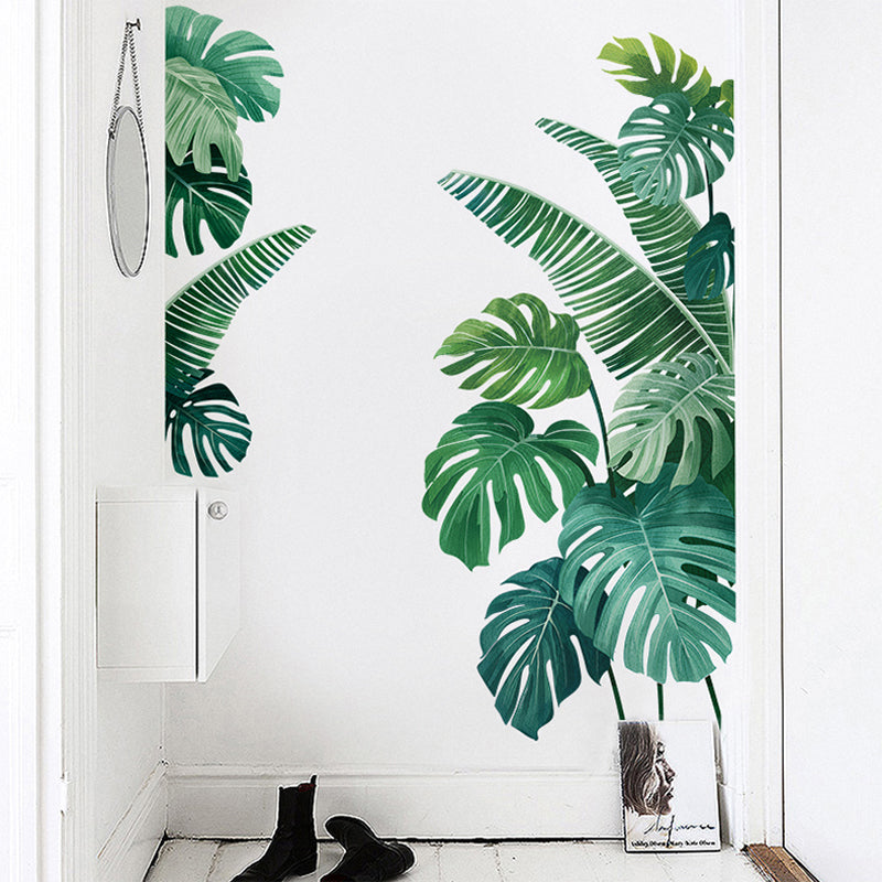 Tropical Green Palm Leaves Wall Decals Removable PVC Wall Sticker Monstera Leaves Banana Palms Botanic Mural For Living Room Bedroom Kitchen Creative DIY Home Decor