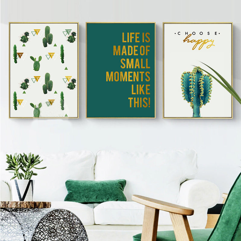 Tropical Green and Gold Cactus Prints Abstract Nordic Wall Art Inspirational Quotations Canvas Posters For Modern Home Decoration