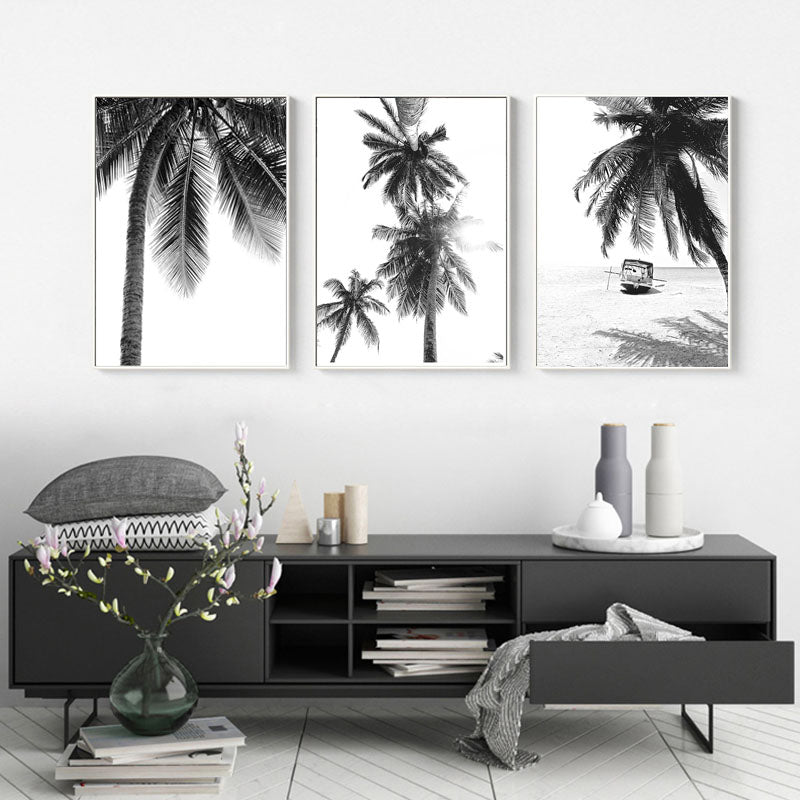 Tropical Island Palm Trees Deserted Beach Landscape Wall Art Fine Art Canvas Prints Black White Inspirational Posters For Living Room Bedroom Wall Art Decor