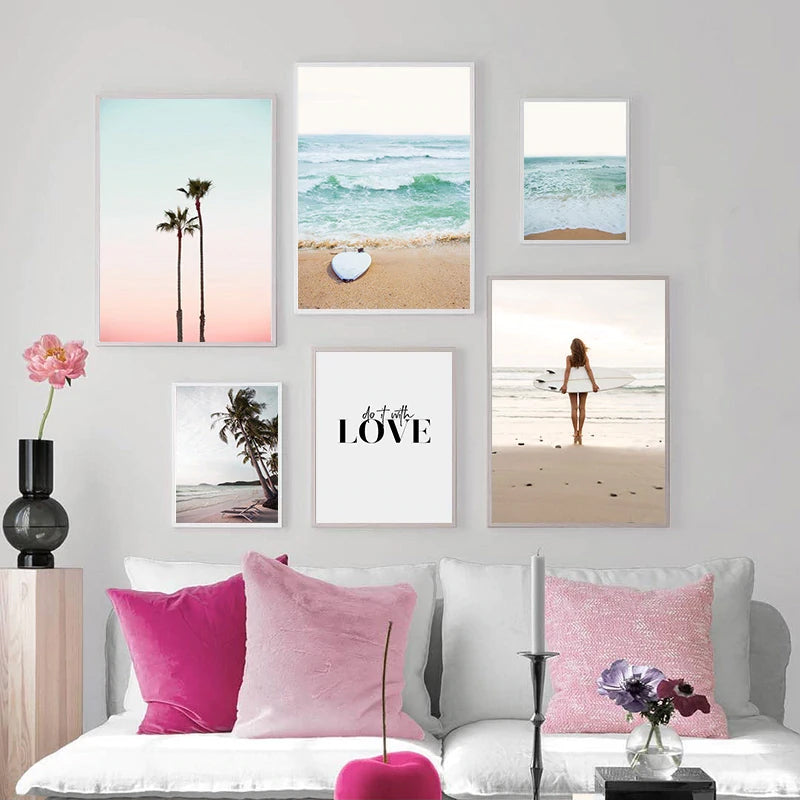 Tropical Ocean Dreams Gallery Wall Art Summer Beach Surf Sunset Minimalist Nordic Style Fine Art Canvas Prints For Modern Home Decor