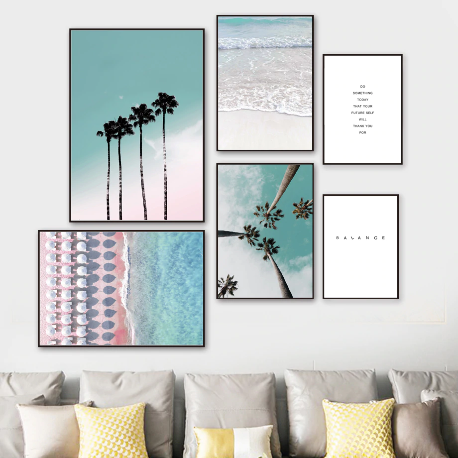 Tropical Palms Wall Art Fine Art Canvas Prints Beach Travel Dreams Simple Life Quotation Nordic Style Posters For Living Room Bedroom Decor