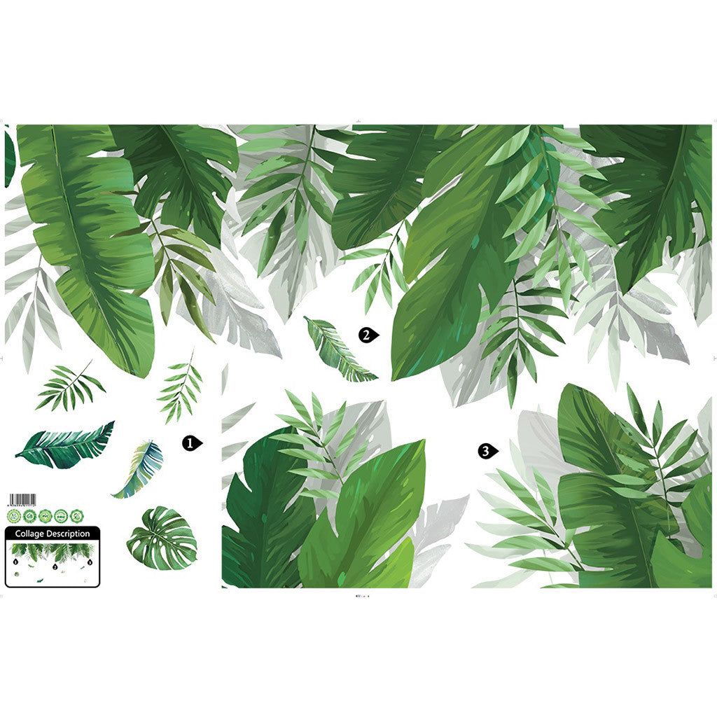 Tropical Rainforest Canopy Plant Leaves Wall Mural Removable PVC Wall Decal For Living Room Dining Room Kids Playroom Nursery Wall Decor