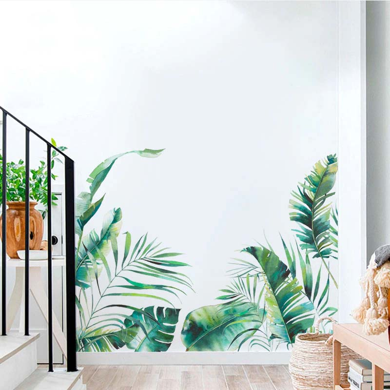 Tropical Rainforest Green Leaves Nordic Wall Decals Removable Self Adhesive PVC Wall Stickers Rainforest Mural For Living Room Corner Border Skirting Art Decor