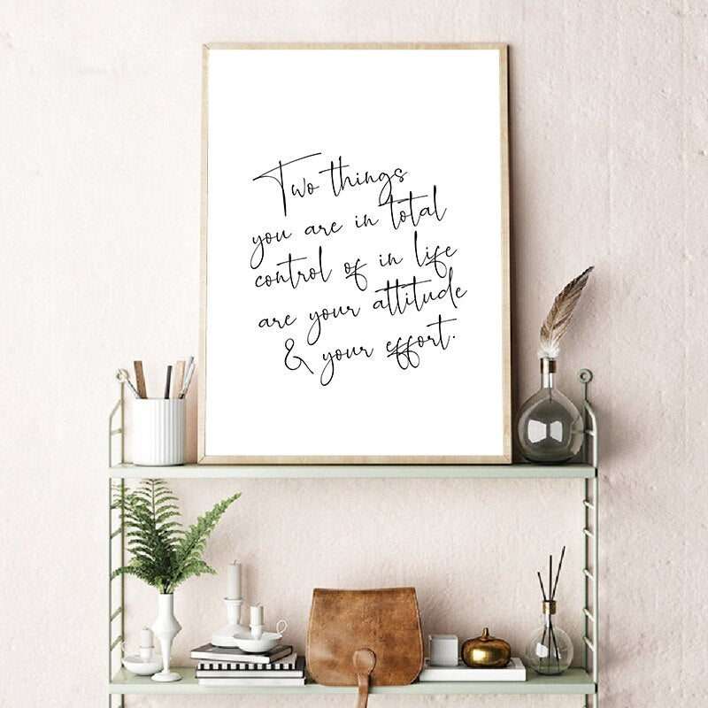 Two Things Quote Inspirational Wall Art Fine Art Canvas Print Black White Minimalist Typographic Design Daily Mantra Quotation Posters For Bedroom Home Decor
