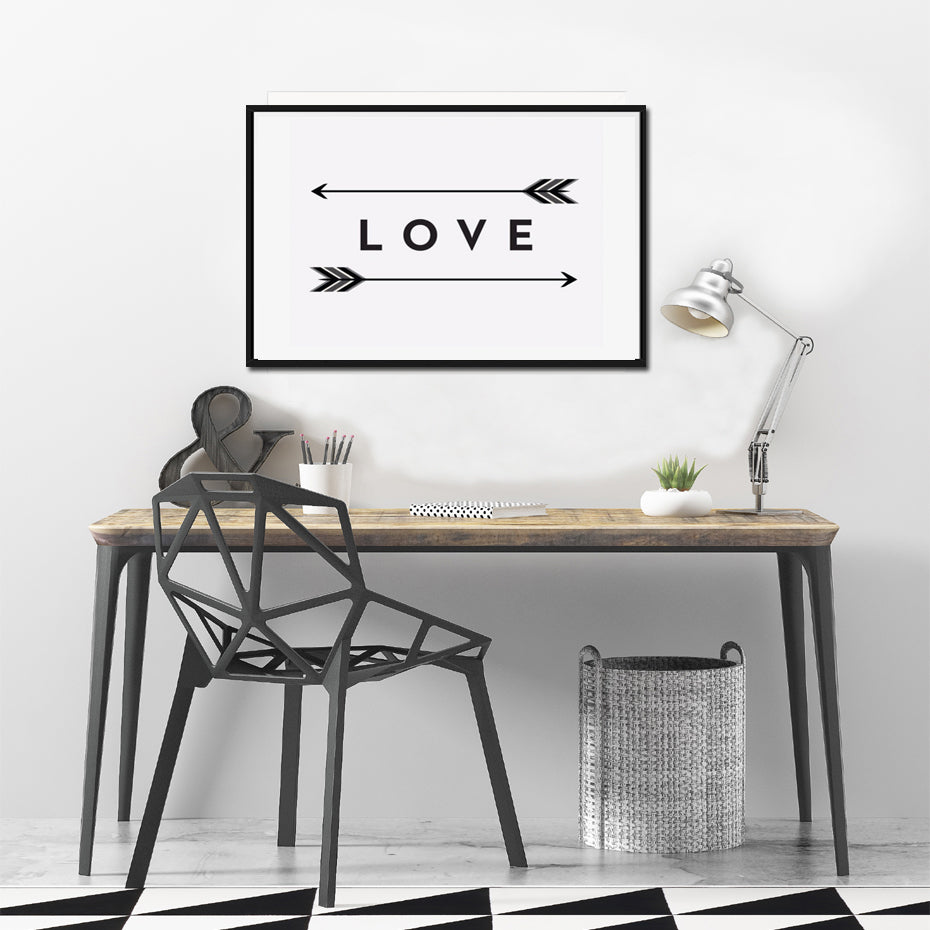 Two Way Love Arrow Poster Print Modern Minimalist Black White Nordic Wall Art Canvas Paintings For Living Room Home Decor