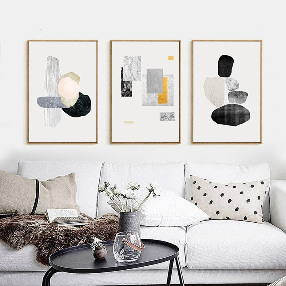 Urban Abstract Geometric Wall Art Fine Art Canvas Prints Nordic Style Minimalist Pictures For Living Room Dining Room Modern Office Interior Decor