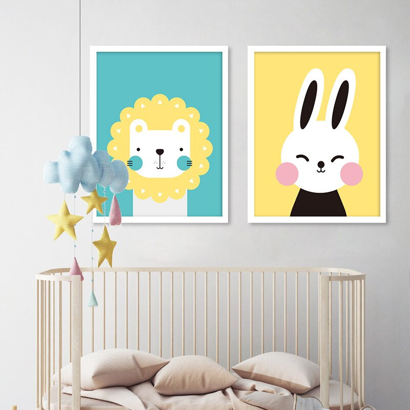 Very Cute Little Cartoon Animals Nursery Wall Art Nordic Style Colorful  Fine Art Canvas Prints Happy Kids Pictures For Children\'s Room Home Decor