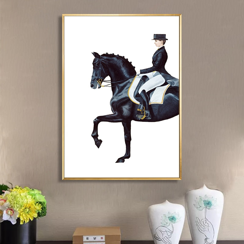 Very Elegant Equestrian Wall Art Luxurious Dressage Paintings Horse And Rider Figure Art Fine Art Canvas Prints For Modern Living Room Decor