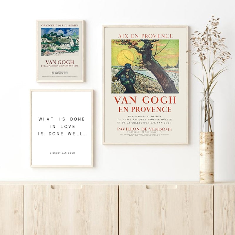 Vincent Gogh en Provence Exhibition Poster Wall Art Fine Art Canvas Prints Vintage Style Gallery Wall Pictures For Living Room Dining Room Nordic Home Decor