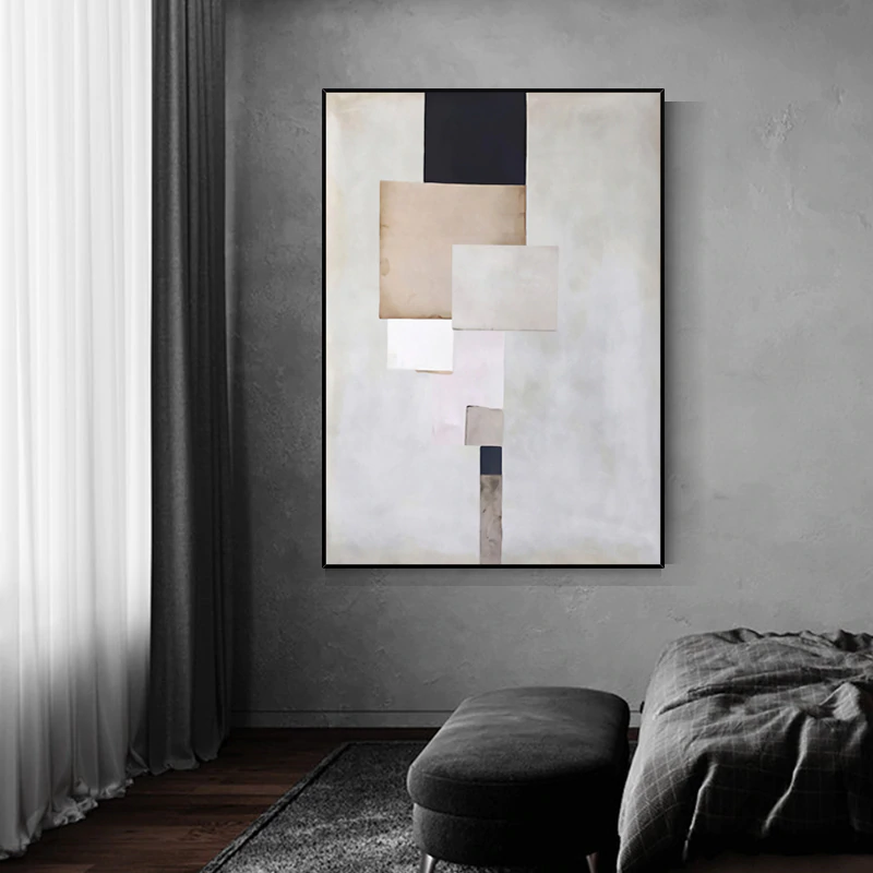 Vintage Abstract Geometric Wall Art Fine Art Canvas Giclee Prints Contemporary Style Paintings For Modern Office Pictures For Living Room Bedroom Decor