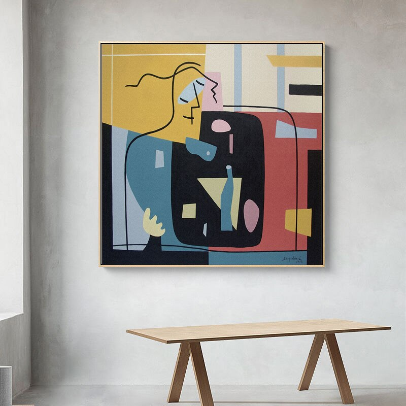 Vintage Abstract Lovers Embrace Figure Art Modern Wall Art Posters Colorful Fine Art Nordic Canvas Prints Living Room Office Interior Decor