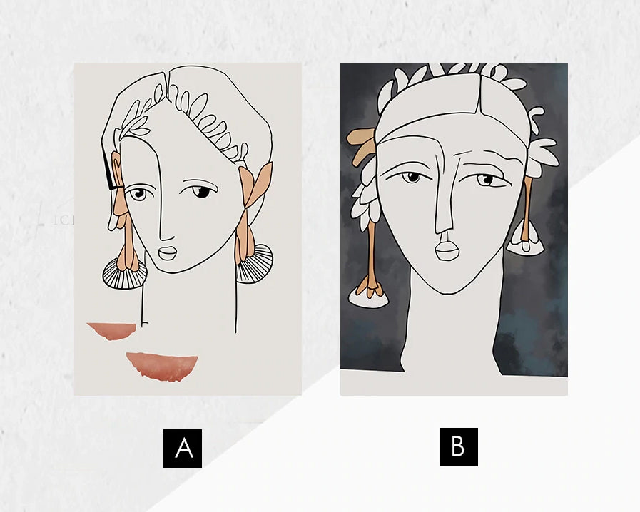 Vintage Abstract Portrait Figure Art Fine Art Canvas Prints Nordic Style Minimalist Contemporary Wall Decor For Living Room Bedroom Dining Room Modern Home Decor