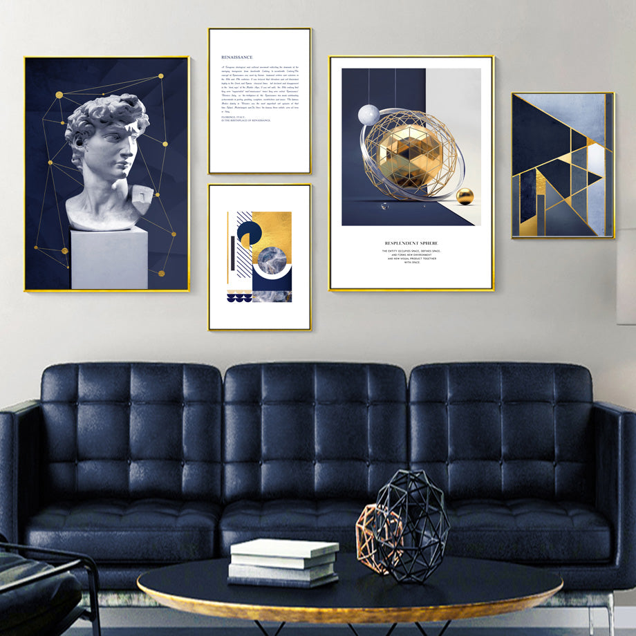 Vintage Abstract Renaissance Science & Sculpture Gallery Wall Art Nordic Blue Gold Marble Fine Art Canvas Prints Modern Retro Minimalist Wall Decor