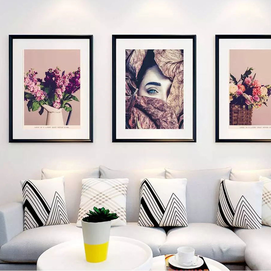 Vintage floral abstract fashion wall art modern fine art canvas prints paintings for living room dining room contemporary home decor art