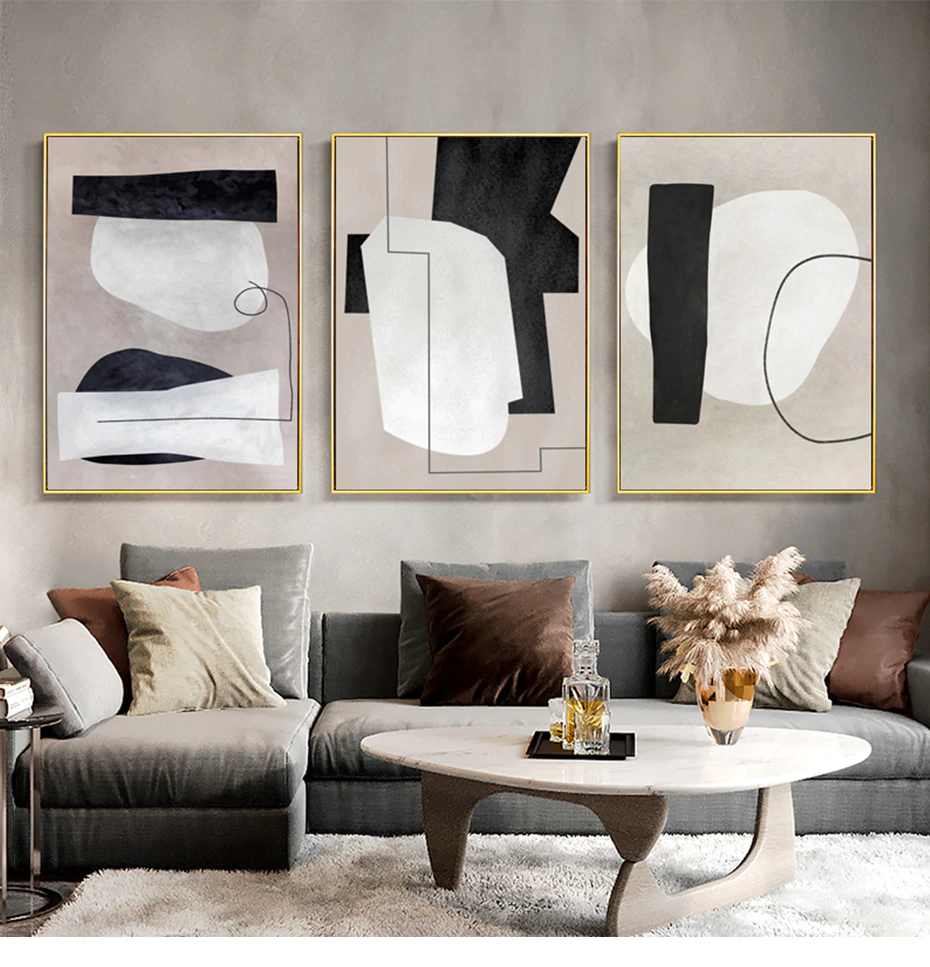 Vintage Nordic Abstract Wall Art Rustic Hues Subtle Colors Fine Art Canvas Prints For Modern Office Living Room Pictures Contemporary Wall Art Interior Design