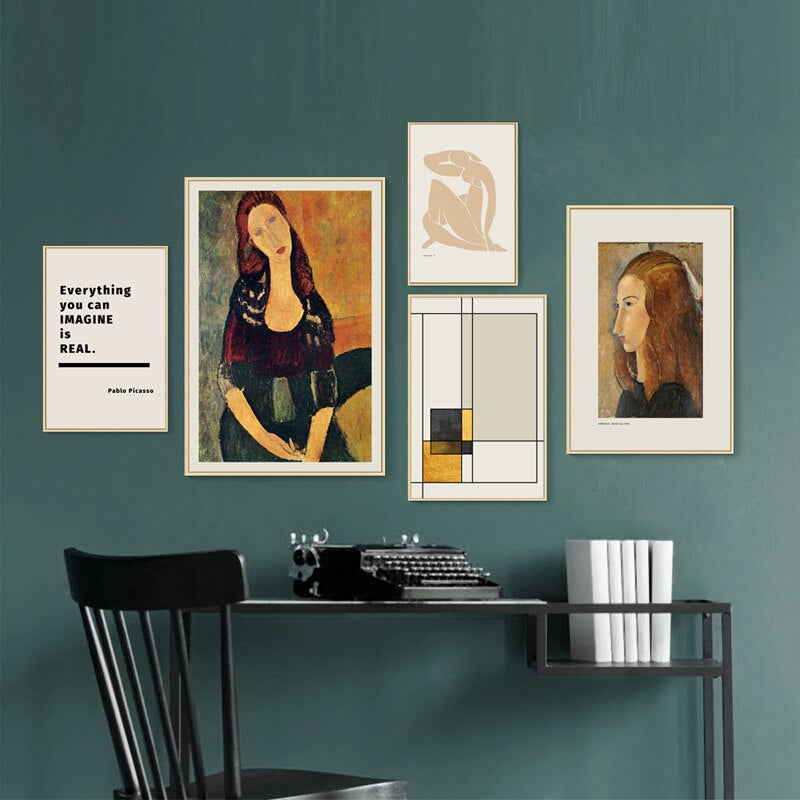 Vintage Retro Abstract Amedeo Modigliani Gallery Wall Art Picasso Quotation Matisse Drawing Fine Art Canvas Prints For Modern Interior Decor