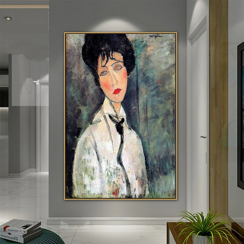 Vintage Vogue Amedeo Modigliani Portrait Of Woman In White Fine Art Canvas Prints Classic Art Posters For Dining Room Living Room Home Decor