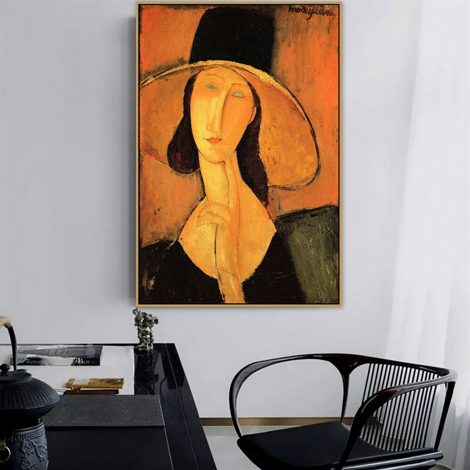 Vintage Vogue Amedeo Modigliani Portrait Of Woman With Hat Fine Art Canvas Prints Classic Art Posters For Dining Room Living Room Home Decor