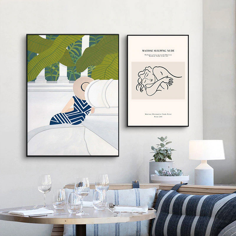 Vintage Vogue Matisse Sleeping Nude Abstract Woman With Hat Fine Art Canvas Prints Contemporary Gallery Wall Art For Living Room Decor