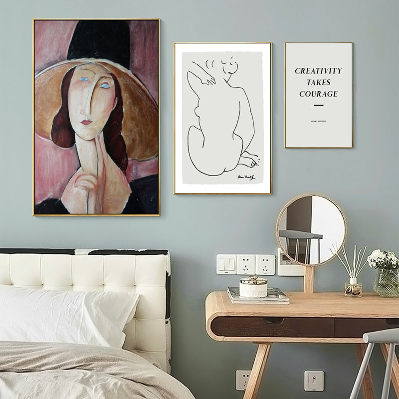 Vintage Vogue Retro Abstract Portrait Art Posters Fine Art Abstract Canvas Prints Nordic Style Wall Art Paintings For Modern Home Interior Decor